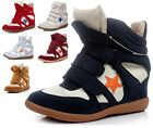 NEW Hidden Wedge Boots Leather Womens Velcro Strap High Top Sneakers Shoes GT-K6