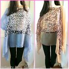 *Caroline Morgan*Leopard/animal brown and grey print poncho scarf top one size