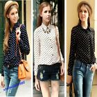 Hot OL Ladys Shirt Long Sleeve Dots Chiffon Shirts Vintage Blouse 3 Color 3 Size