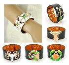 Men Women Genuine Leather Bracelet Star Sign Cuff Zodiac Astrolog Wide Wristband