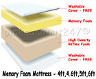 3 ft SINGLE VISCO ELASTIC MEMORY FOAM MATTRESS & COVER+FREE NEXT DAY DELIVERY