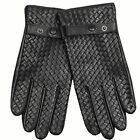 WARMEN Men's Lambskin Leather Gloves Woven Lattices Style with Belt and Buckle