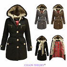 New Ladies Tartan Check Lined Hooded Inner Fur Womens Military Parka Jacket Coat