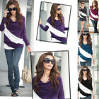 Hot Fashion Womens Ladies Long Sleeve Stripe Batwing Loose Tops T Shirt Blouse