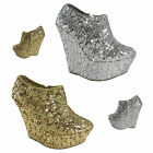 LADIES WOMENS SEQUIN GLITTER PLATFORM WEDGE HIGH HEEL PARTY ANKLE SHOES BOOTS