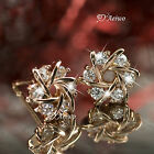 18K GOLD GF STUD SWAROVSKI CRYSTAL EARRINGS SMALL CUTE