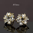 18k Gold Gf Stud Clear Crystal Earrings Small Cute