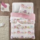 BEAUTIFUL FUN CUTE GIRLS PINK WHITE AQUA BLUE FLOWER PURPLE OWL BIRD QUILT SET