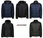 Mens Designer Jack Jones Jeans Padded Jacket Quilted Puffer Hooded Bomber Coat