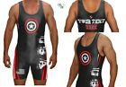 ADULT * BLACK / RED * USA SHIELD Wrestling SINGLET * CAPTAIN AMERICA * CUSTOM  *