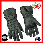 Mens Full Leather Waterproof Motorcycle Motorbike  Gloves Cruiser New Biker Blk