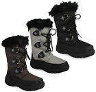 NEW WOMENS LADIES BLACK LACE UP WARM WINTER SNOW RAIN FUR BOOTS SIZE 3 4 5 6 7 8