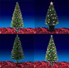 Green Fibre Optic Artificial Indoor Christmas Tree Stars & Baubles 2ft 4ft 5ft..