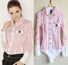 Long Sleeved Striped Bodysuit Classic Fit Blouse Top Shirt Red- Plus XL  2X 3XL