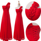 US SHIP Bridal Bridesmaid Long Prom Gown Cocktail Evening Formal Party Dress Red
