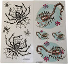 3 x Temporary Tattoo Scorpion Skull Spider Web Creepy Horror Goth Tattoos Random