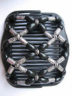 """BLACK GRAY SILVER Magic Beaded Double PLASTIC & wood 4"""" Comb Hair COOL Neutrals"""