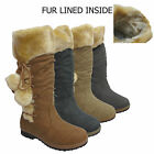 LADIES POM POM FUR LINED WOMEN SLOUCH BIKER KNEE HIGH SNOW CALF WINTER BOOTS SIZ