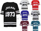 WOMENS CHICAGO 1973 PRINT T SHIRT LADIES OVERSIZE VARSITY BASEBALL BAGGY TOP
