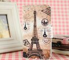 brown eiffel tower PU leather cover case For Many Mobile phones