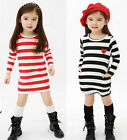 New Girls Top Eyes Stripe Dress 2-7Y Long Sleeve Party Casual Kids Xmas Clothes