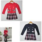 HOT Kids Toddlers Girls Lovely Plaid Cotton Long Sleeve Dress Age 2-8Years