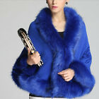Classic Womens Fur Collar Wool Cloak Loose Batwing Knit Cape Coat Jacket  [JG]