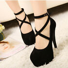 Women's Suede Pumps Platform Stiletto Ankle Strapped High Heels Shoes NEW