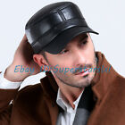 Men's Women's Sheepskin Leather Cadet Caps Outdoor Camping Military Caps Hats