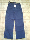 Adini 100% linen trousers denim linen zip fly 2 side pockets wide leg
