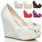 WOMENS LADIES WEDDING EVENING BRIDAL HIGH HEEL WEDGE PLATFORM PROM SHOES SIZE