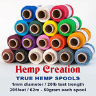 TRUE HEMP spool 20lb 1mm 205feet/62m 50gr - Hemp Creation - Choose your colors