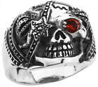 STAINLESS STEEL SKULL RING WITH STAR EYE PATCH IN SIZES 10-14 R50