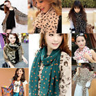 Fashion Women Lady Soft Silk Chiffon Scarf Wrap Shawl Stole Leopard Dot Bowknot
