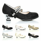 GIRLS KIDS CHILDRENS LOW HEEL PARTY MARY JANE WEDDING STYLE SANDALS SHOES SIZE