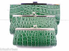 Vintage Retro Mock Croc Look Green Clutch Should Handbag 3 choices of size