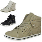 LADIES WOMENS ANKLE CREEPER TRAINER HI TOP STUD LACE UP FLAT PUMP BOOT SHOE SIZE