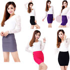 Hot Women Bodycon Bandage Stretch Ribbed A-Line Slim Seamless Mini Party Skirt