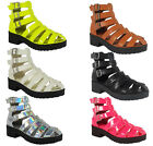 WOMENS LADIES ANKLE STRAPS LOW HEEL TREAD FLATFORMS SHOES CHUNKY SANDALS SIZE