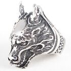 High Quality 316L Stainless Steel Dragon Head 3D Men's Biker's Ring Size 8-13
