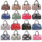 Ladies Large Oilcloth Designer Holdall Weekend Tote Travel Satchel Bag NEW