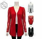 LADIES WOMENS LACE OPEN CARDIGAN DROP POCKET LONG LACE SLEEVE TOPS CASUAL CARDI