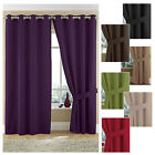 TWILL lined ring top curtains 100% cotton, plain dyed textured ** HIGH QUALITY *