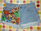 RE-WORKED MARVEL COMIC VINTAGE LEVI DENIM SHORTS UK SIZE 8/10/12/14/16/18