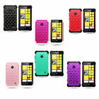 For Nokia Lumia 521 Hard & Soft Rubber Hybrid Diamond Bling Skin Case