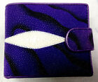 NEW GENUINE STINGRAY LEATHER,BI-FOLD WALLET,COIN PURSE ,ID CARD HOLDER, VIOLET