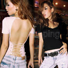 Women Clubwear Sexy V-Neck Low-Cut Cross Backless Tops Tees Solid Slim T-Shirt