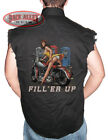 FILL 'ER UP Sleeveless Denim Shirt Biker Cut Full Service Pin Up Girl Motorcycle