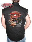 LAST STOP GASOLINE Sleeveless Denim Shirt Biker Cut Full Service Pin Up Girl