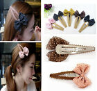 Cute Sweet Women Girls Chiffon Polka Dot Bowknot Bow Hairpin Hair Clips Barrette